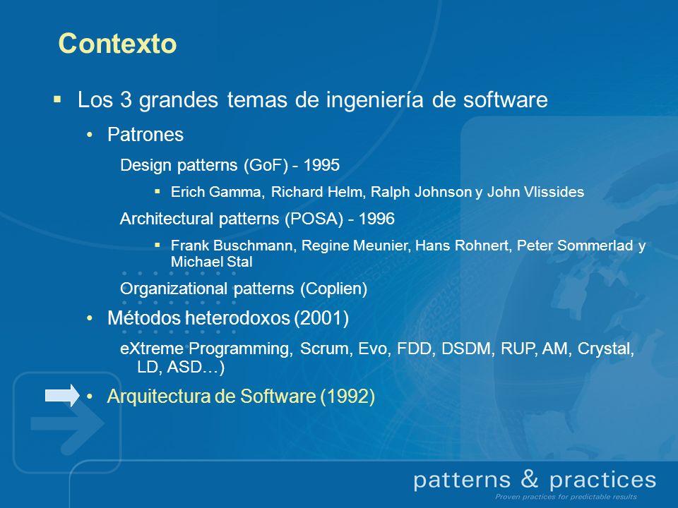 Contexto Los 3 grandes temas de ingeniería de software Patrones Design patterns (GoF) - 1995 Erich Gamma, Richard Helm, Ralph Johnson y John Vlissides