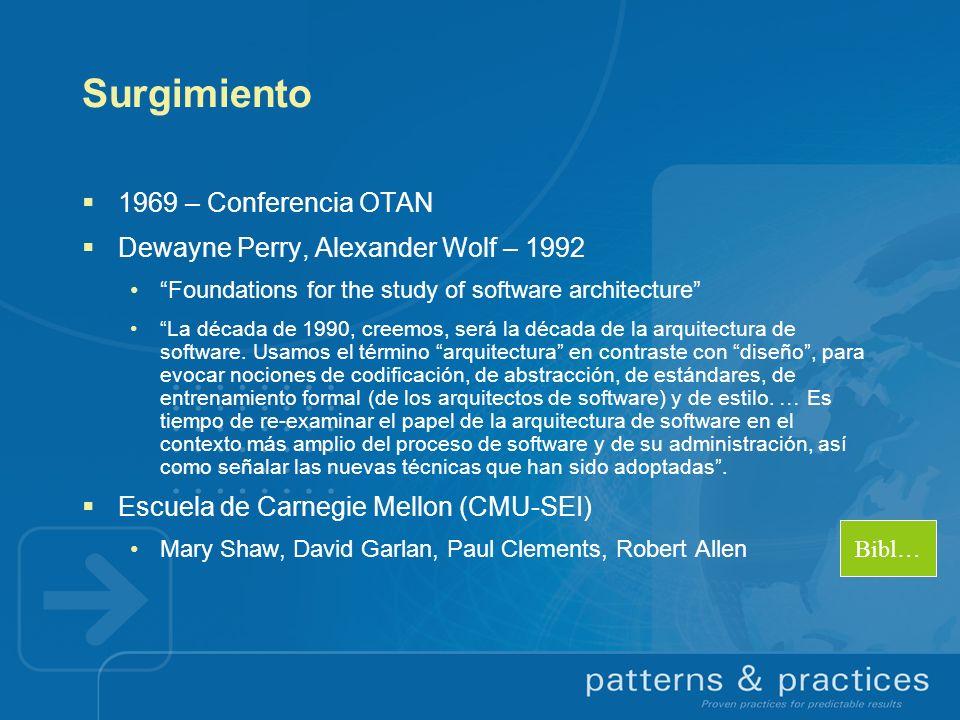 Surgimiento 1969 – Conferencia OTAN Dewayne Perry, Alexander Wolf – 1992 Foundations for the study of software architecture La década de 1990, creemos