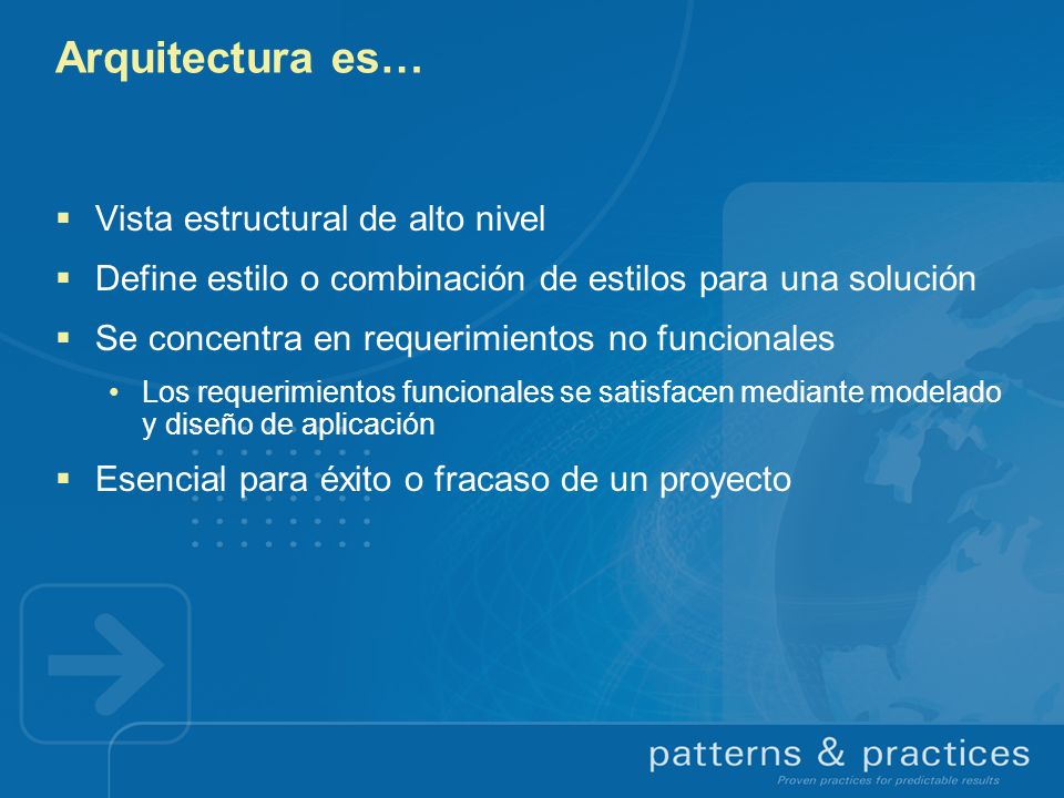 Arquitectura es… Vista estructural de alto nivel Define estilo o combinación de estilos para una solución Se concentra en requerimientos no funcionale