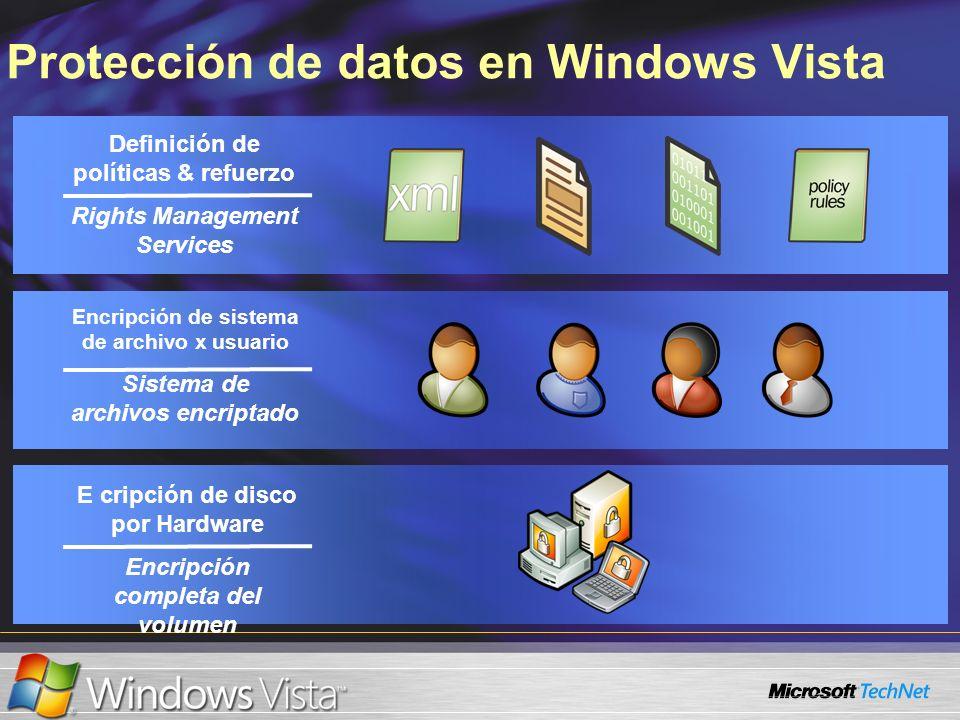 Protección de datos en Windows Vista Definición de políticas & refuerzo Rights Management Services Encripción de sistema de archivo x usuario Sistema