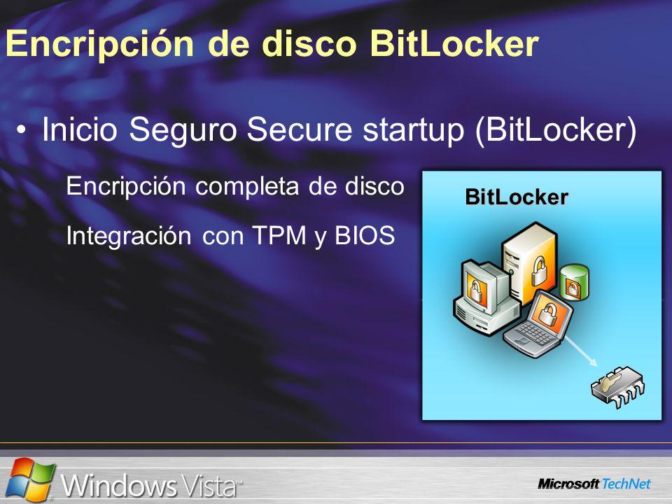 Encripción de disco BitLocker Inicio Seguro Secure startup (BitLocker) Encripción completa de disco Integración con TPM y BIOS BitLocker BitLocker
