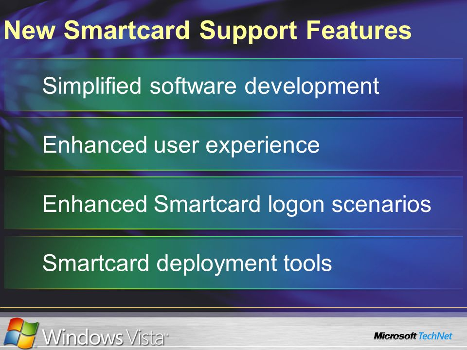 New Smartcard Support Features Simplified software developmentEnhanced user experience Enhanced Smartcard logon scenarios Smartcard deployment tools