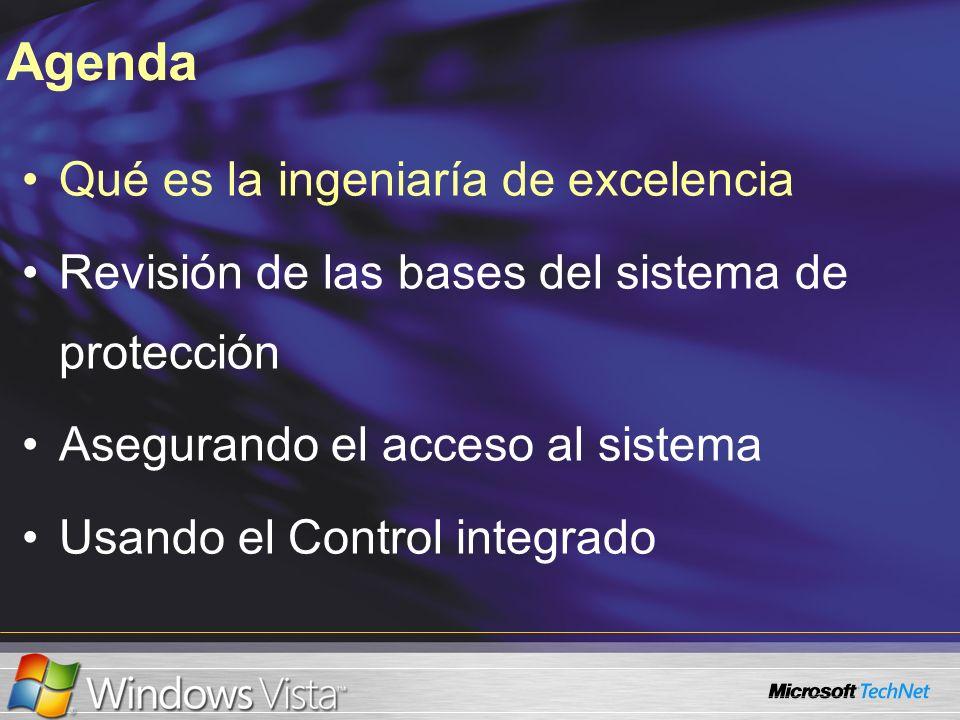 Qué es la ingeniaría de excelencia Revisión de las bases del sistema de protección Asegurando el acceso al sistema Usando el Control integrado Agenda