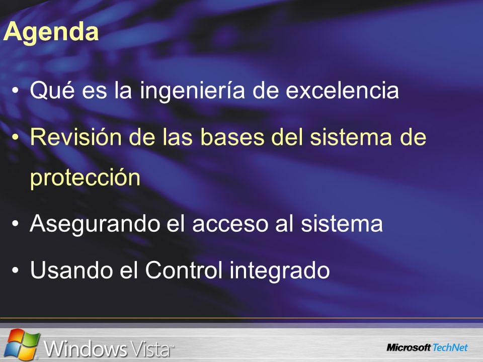 Qué es la ingeniería de excelencia Revisión de las bases del sistema de protección Asegurando el acceso al sistema Usando el Control integrado Agenda
