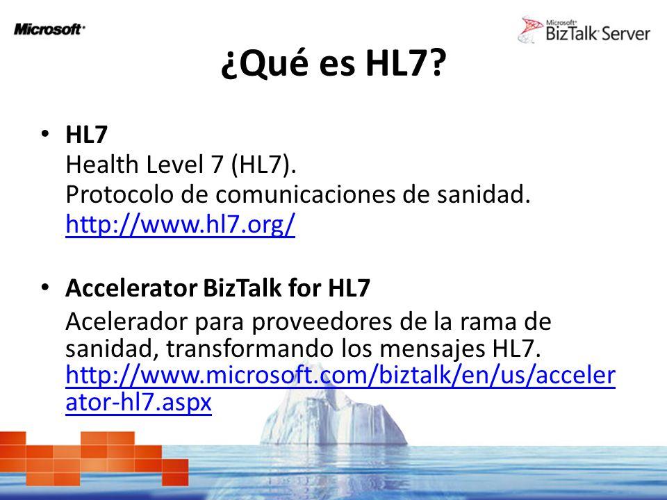 ¿Qué es HL7? HL7 Health Level 7 (HL7). Protocolo de comunicaciones de sanidad. http://www.hl7.org/ Accelerator BizTalk for HL7 Acelerador para proveed