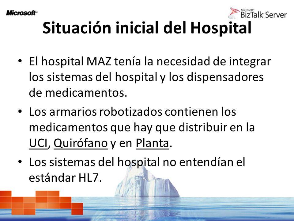 Situación inicial del Hospital El hospital MAZ tenía la necesidad de integrar los sistemas del hospital y los dispensadores de medicamentos. Los armar