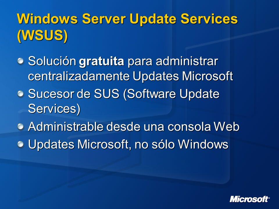 Componentes Microsoft Update Windows Server Update Services Web Site MSDE/SQL Automatic Updates Client Windows 2000 Server y Professional Windows XP Professional Windows Server 2003