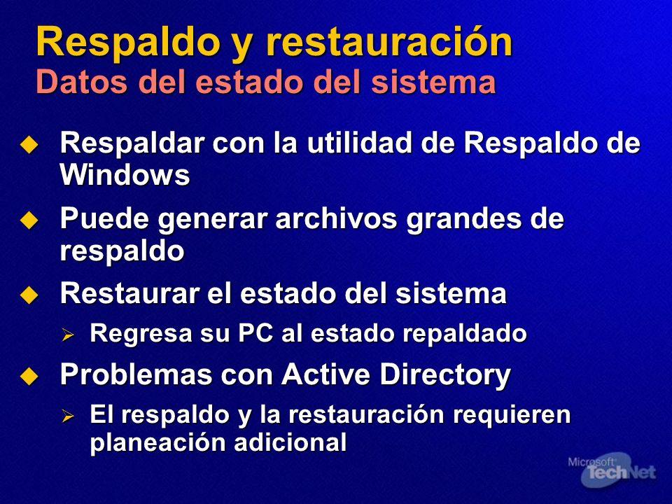 Respaldo y restauración Datos del estado del sistema Respaldar con la utilidad de Respaldo de Windows Respaldar con la utilidad de Respaldo de Windows Puede generar archivos grandes de respaldo Puede generar archivos grandes de respaldo Restaurar el estado del sistema Restaurar el estado del sistema Regresa su PC al estado repaldado Regresa su PC al estado repaldado Problemas con Active Directory Problemas con Active Directory El respaldo y la restauración requieren planeación adicional El respaldo y la restauración requieren planeación adicional