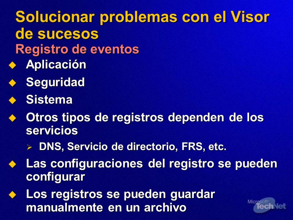Solucionar problemas con el Visor de sucesos Registro de eventos Aplicación Aplicación Seguridad Seguridad Sistema Sistema Otros tipos de registros dependen de los servicios Otros tipos de registros dependen de los servicios DNS, Servicio de directorio, FRS, etc.