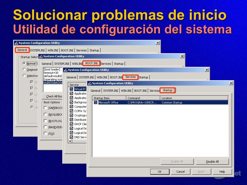 Solucionar problemas de inicio Utilidad de configuración del sistema