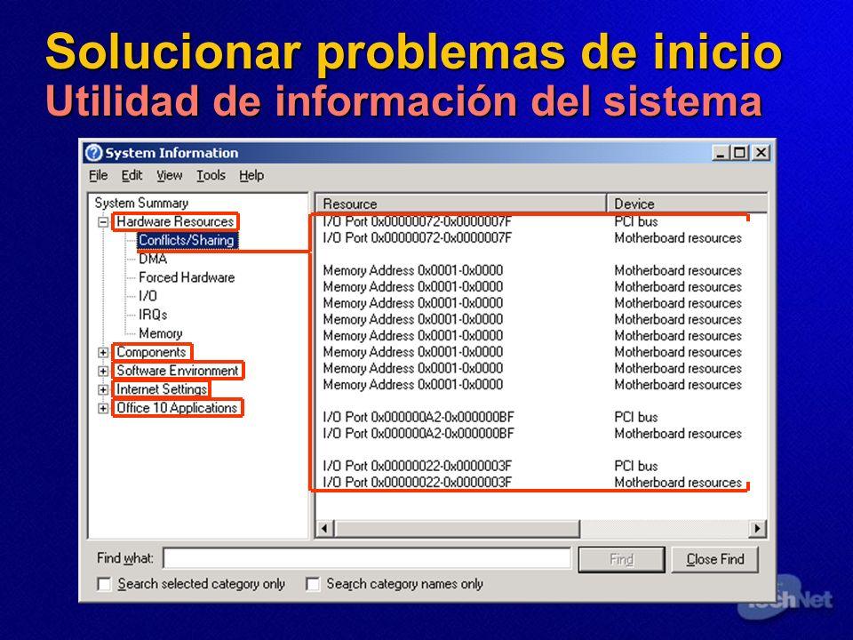 Solucionar problemas de inicio Utilidad de información del sistema