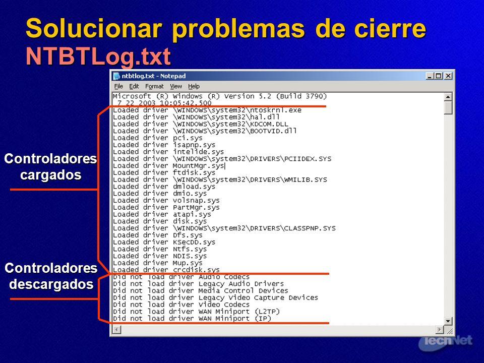 Solucionar problemas de cierre NTBTLog.txt Controladores cargados Controladores descargados
