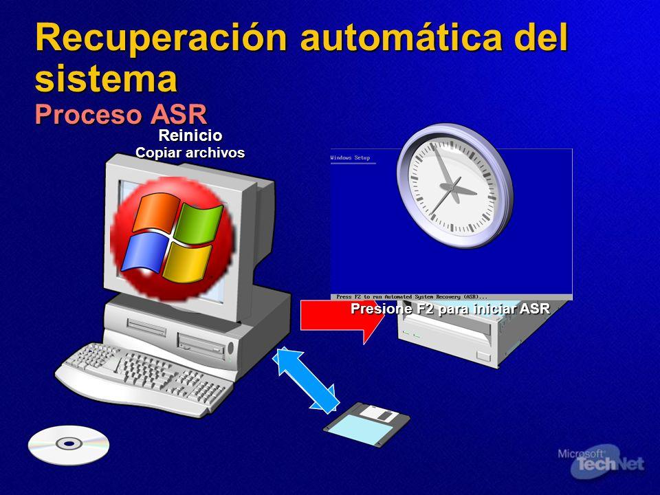 Recuperación automática del sistema Proceso ASR Reinicio Presione F2 para iniciar ASR Copiar archivos