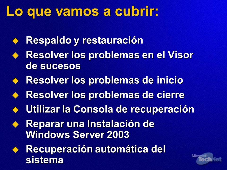 Lo que vamos a cubrir: Respaldo y restauración Respaldo y restauración Resolver los problemas en el Visor de sucesos Resolver los problemas en el Visor de sucesos Resolver los problemas de inicio Resolver los problemas de inicio Resolver los problemas de cierre Resolver los problemas de cierre Utilizar la Consola de recuperación Utilizar la Consola de recuperación Reparar una Instalación de Windows Server 2003 Reparar una Instalación de Windows Server 2003 Recuperación automática del sistema Recuperación automática del sistema