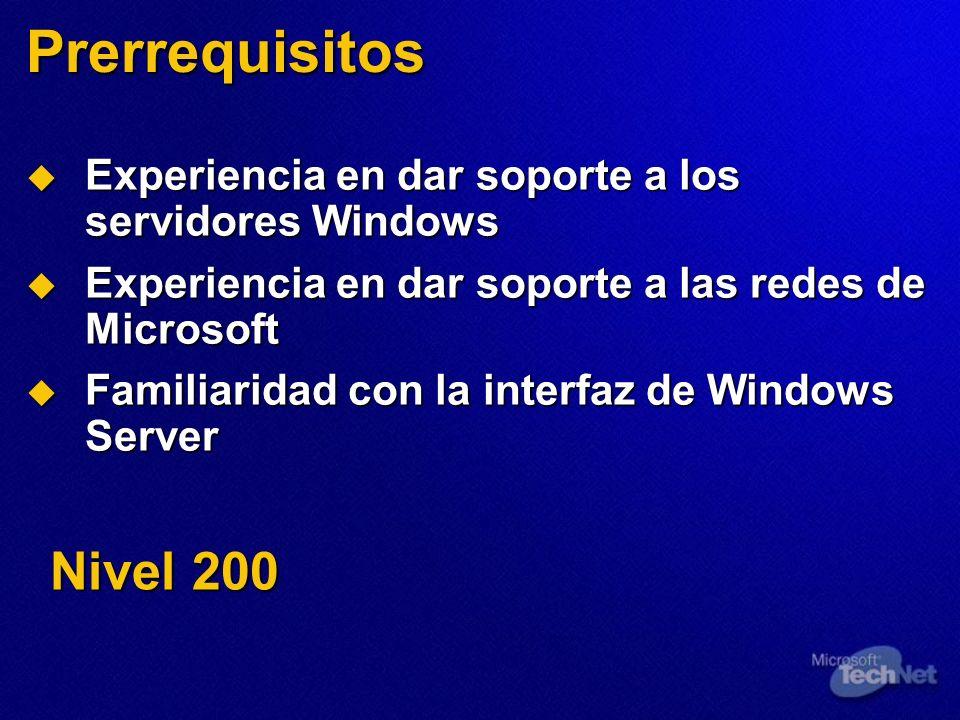 Prerrequisitos Experiencia en dar soporte a los servidores Windows Experiencia en dar soporte a los servidores Windows Experiencia en dar soporte a las redes de Microsoft Experiencia en dar soporte a las redes de Microsoft Familiaridad con la interfaz de Windows Server Familiaridad con la interfaz de Windows Server Nivel 200