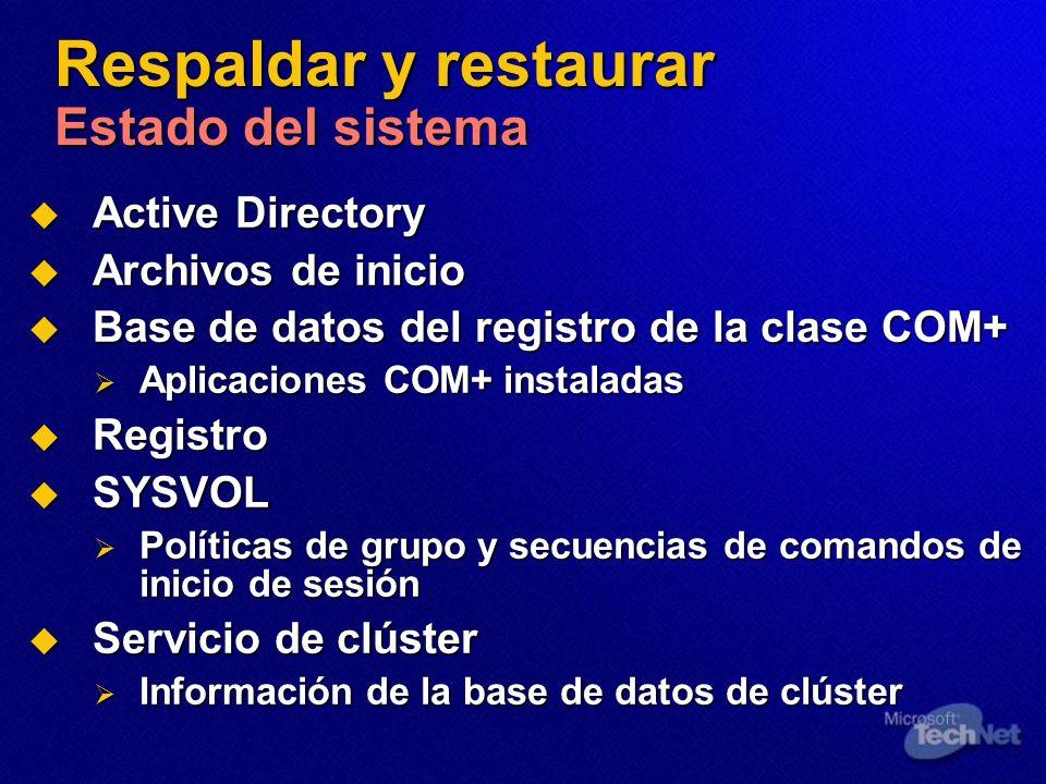 Respaldar y restaurar Estado del sistema Active Directory Active Directory Archivos de inicio Archivos de inicio Base de datos del registro de la clase COM+ Base de datos del registro de la clase COM+ Aplicaciones COM+ instaladas Aplicaciones COM+ instaladas Registro Registro SYSVOL SYSVOL Políticas de grupo y secuencias de comandos de inicio de sesión Políticas de grupo y secuencias de comandos de inicio de sesión Servicio de clúster Servicio de clúster Información de la base de datos de clúster Información de la base de datos de clúster