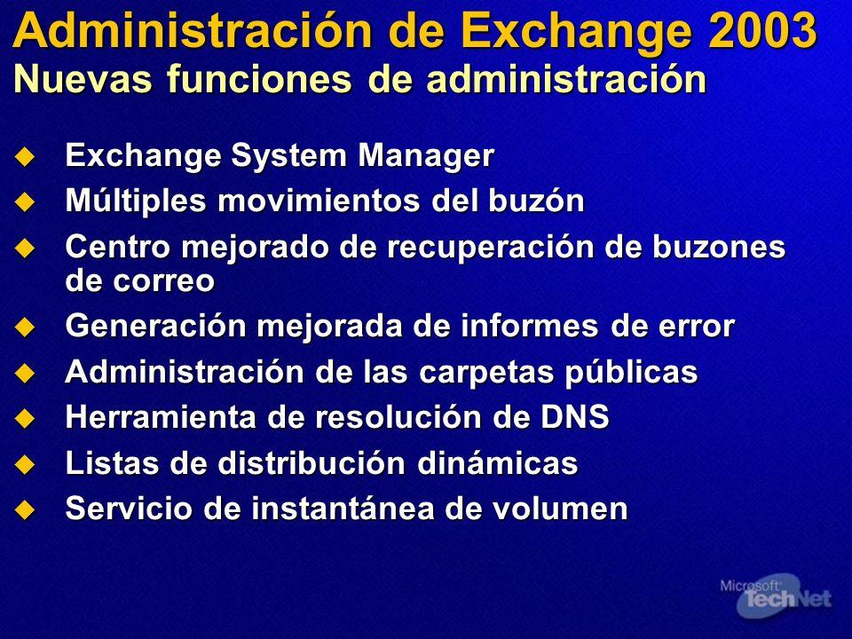 Administración de Exchange 2003 Nuevas funciones de administración Exchange System Manager Exchange System Manager Múltiples movimientos del buzón Múl
