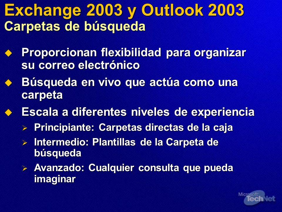Exchange 2003 y Outlook 2003 Carpetas de búsqueda Proporcionan flexibilidad para organizar su correo electrónico Proporcionan flexibilidad para organi
