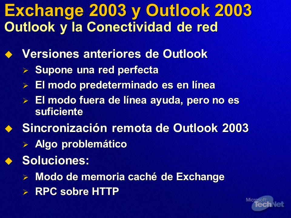 Exchange 2003 y Outlook 2003 Outlook y la Conectividad de red Versiones anteriores de Outlook Versiones anteriores de Outlook Supone una red perfecta