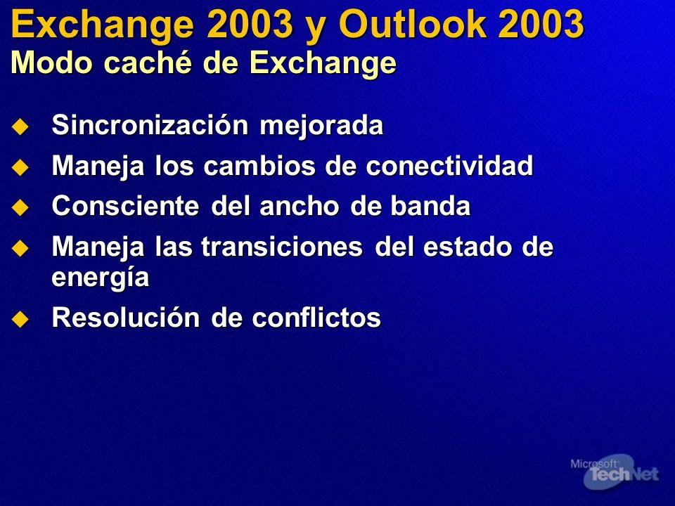 Exchange 2003 y Outlook 2003 Modo caché de Exchange Sincronización mejorada Sincronización mejorada Maneja los cambios de conectividad Maneja los camb