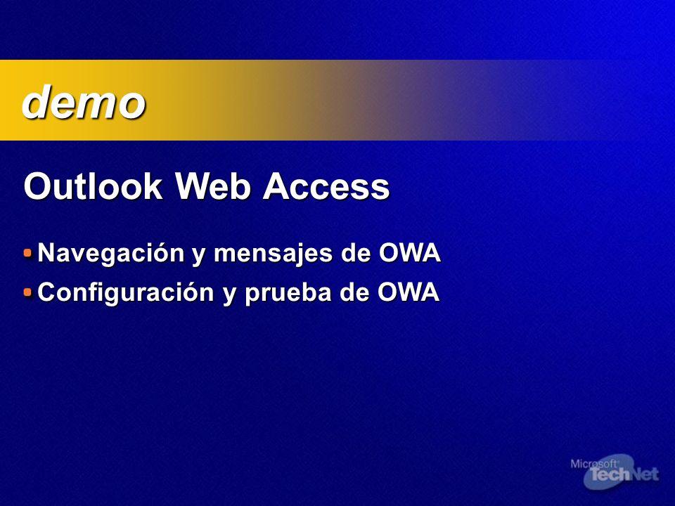 Outlook Web Access Navegación y mensajes de OWA Configuración y prueba de OWA demo demo