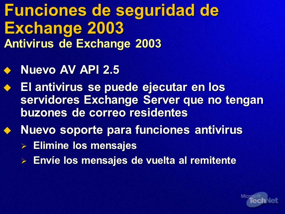 Funciones de seguridad de Exchange 2003 Antivirus de Exchange 2003 Nuevo AV API 2.5 Nuevo AV API 2.5 El antivirus se puede ejecutar en los servidores