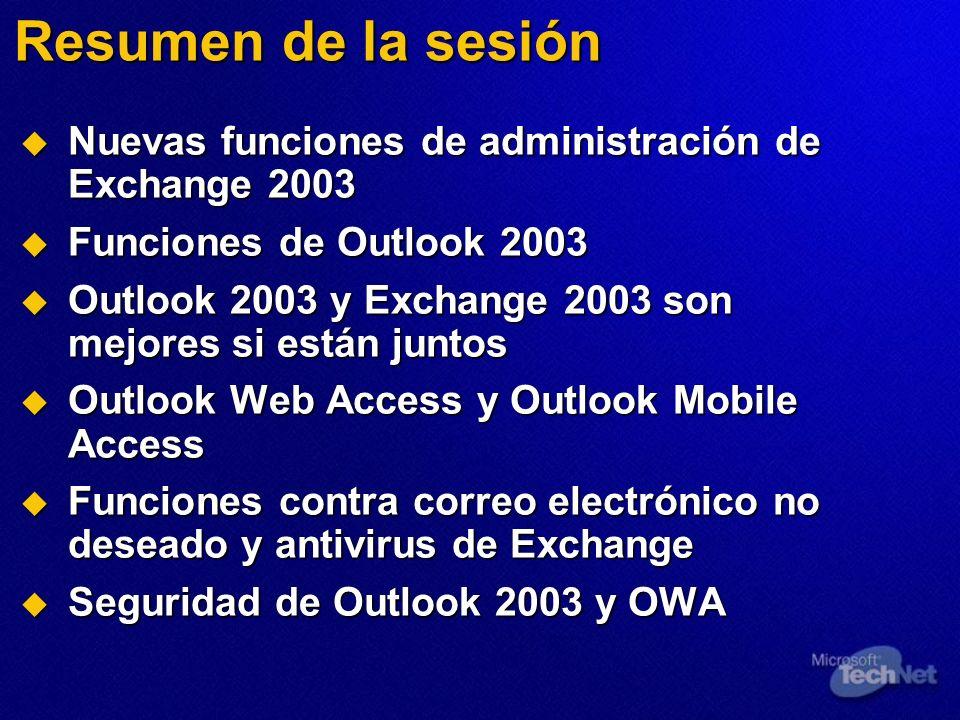 Resumen de la sesión Nuevas funciones de administración de Exchange 2003 Nuevas funciones de administración de Exchange 2003 Funciones de Outlook 2003