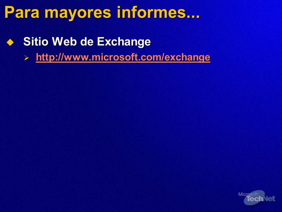 Para mayores informes... Sitio Web de Exchange Sitio Web de Exchange http://www.microsoft.com/exchange http://www.microsoft.com/exchange http://www.mi