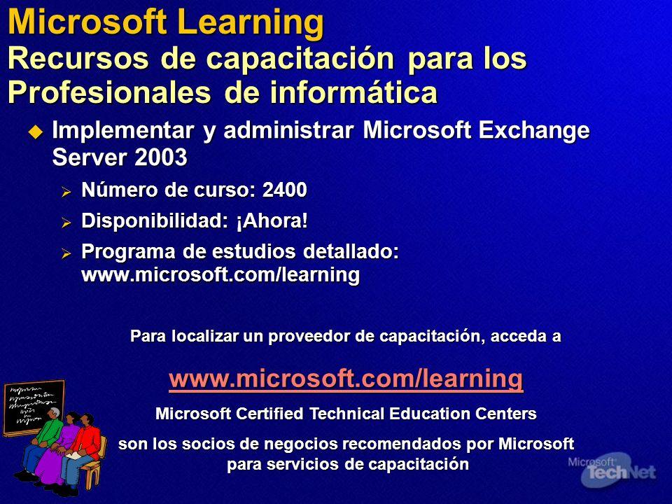 Microsoft Learning Recursos de capacitación para los Profesionales de informática Implementar y administrar Microsoft Exchange Server 2003 Implementar