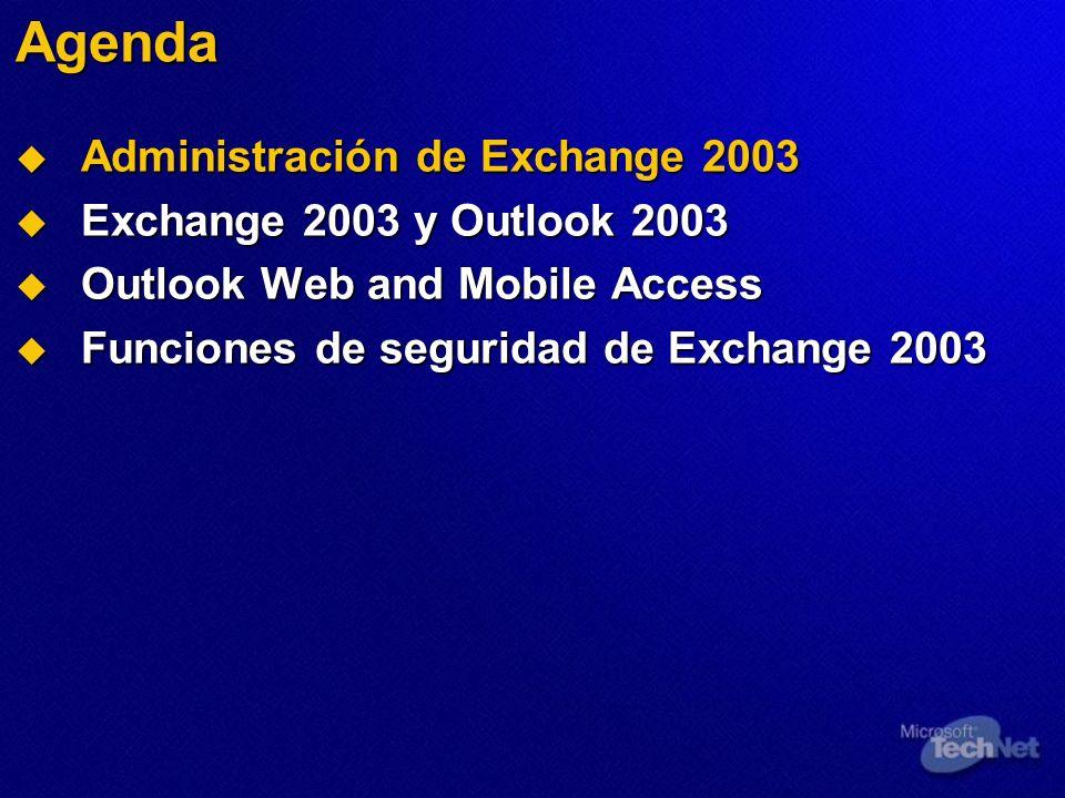 Agenda Administración de Exchange 2003 Administración de Exchange 2003 Exchange 2003 y Outlook 2003 Exchange 2003 y Outlook 2003 Outlook Web and Mobil