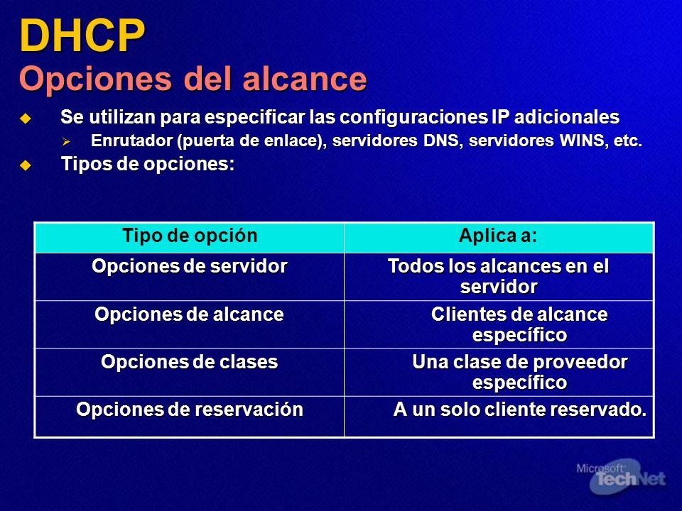 DHCP Opciones del alcance Se utilizan para especificar las configuraciones IP adicionales Se utilizan para especificar las configuraciones IP adiciona