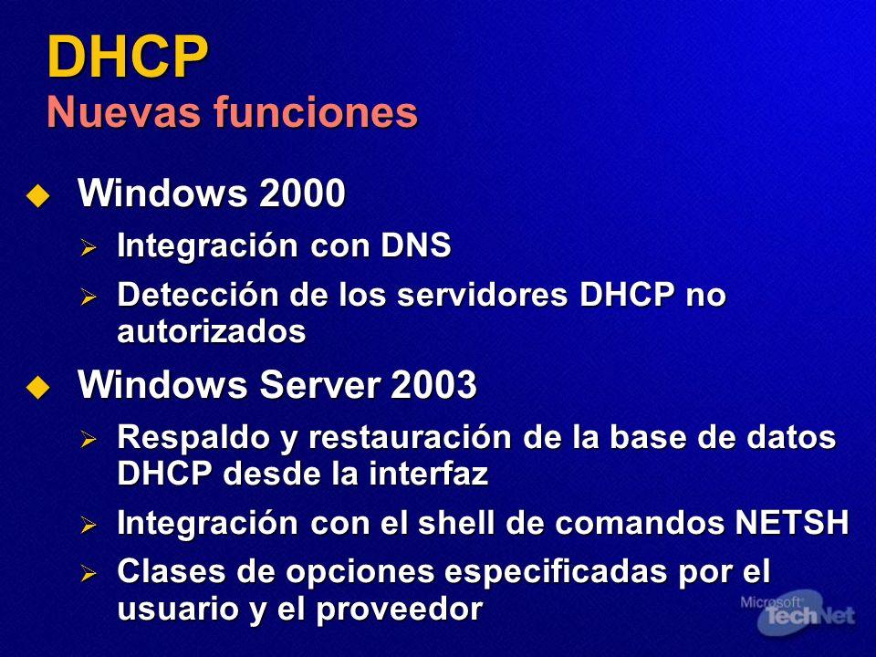 DHCP Nuevas funciones Windows 2000 Windows 2000 Integración con DNS Integración con DNS Detección de los servidores DHCP no autorizados Detección de l