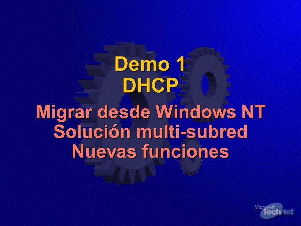 Demo 1 DHCP Migrar desde Windows NT Solución multi-subred Nuevas funciones