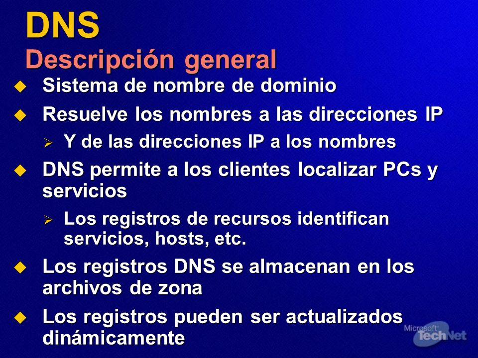DNS Descripción general Sistema de nombre de dominio Sistema de nombre de dominio Resuelve los nombres a las direcciones IP Resuelve los nombres a las