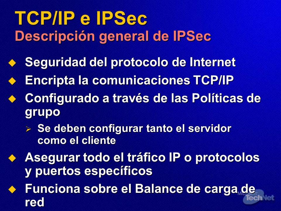 TCP/IP e IPSec Descripción general de IPSec Seguridad del protocolo de Internet Seguridad del protocolo de Internet Encripta la comunicaciones TCP/IP