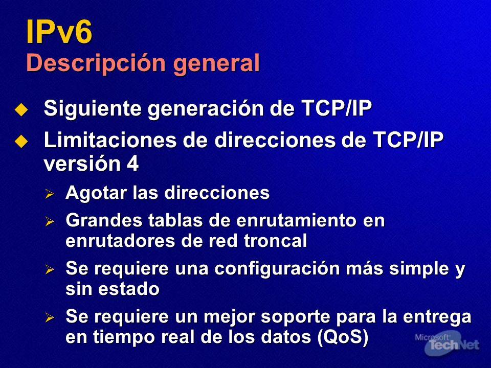 IPv6 Descripción general Siguiente generación de TCP/IP Siguiente generación de TCP/IP Limitaciones de direcciones de TCP/IP versión 4 Limitaciones de