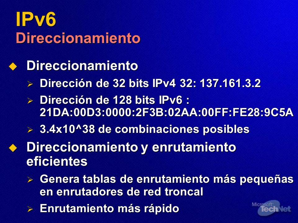 IPv6 Direccionamiento Direccionamiento Direccionamiento Dirección de 32 bits IPv4 32: 137.161.3.2 Dirección de 32 bits IPv4 32: 137.161.3.2 Dirección