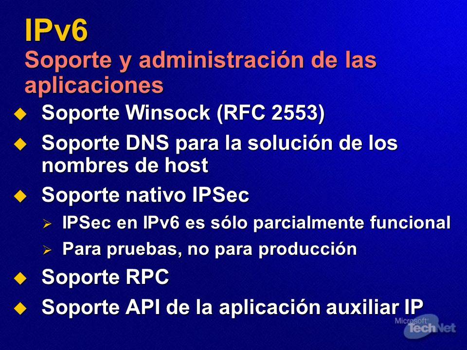 IPv6 Soporte y administración de las aplicaciones Soporte Winsock (RFC 2553) Soporte Winsock (RFC 2553) Soporte DNS para la solución de los nombres de