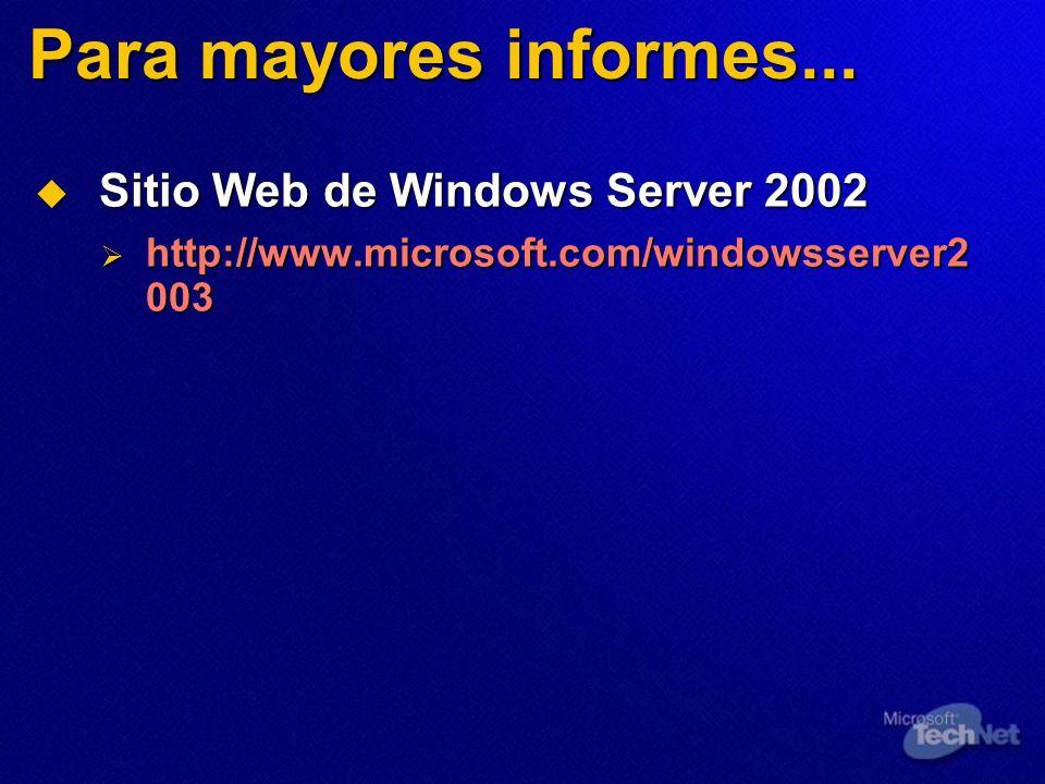 Para mayores informes... Sitio Web de Windows Server 2002 Sitio Web de Windows Server 2002 http://www.microsoft.com/windowsserver2 003 http://www.micr