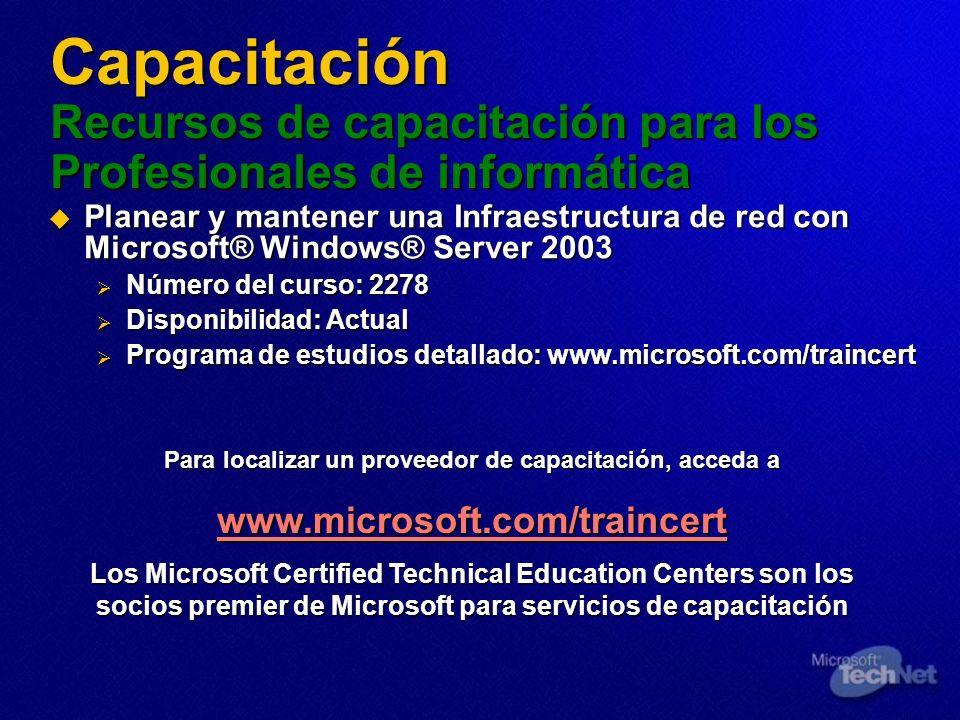 Capacitación Recursos de capacitación para los Profesionales de informática Planear y mantener una Infraestructura de red con Microsoft® Windows® Serv