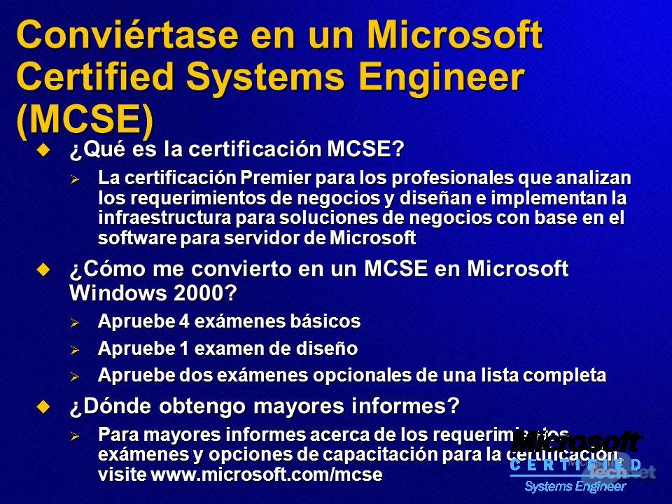 Conviértase en un Microsoft Certified Systems Engineer (MCSE) ¿Qué es la certificación MCSE? ¿Qué es la certificación MCSE? La certificación Premier p