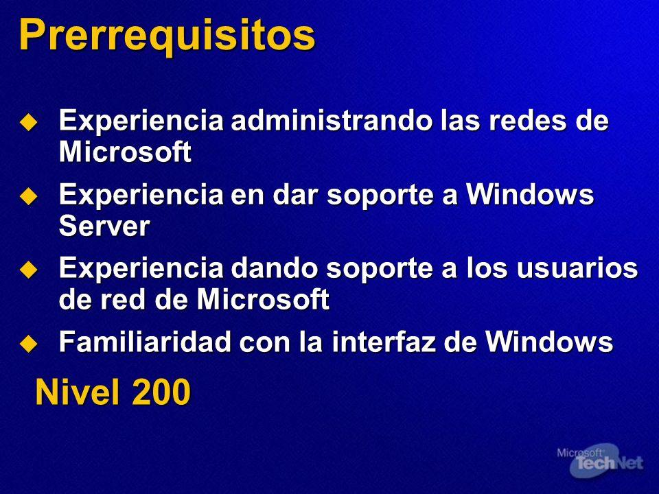 Prerrequisitos Experiencia administrando las redes de Microsoft Experiencia administrando las redes de Microsoft Experiencia en dar soporte a Windows