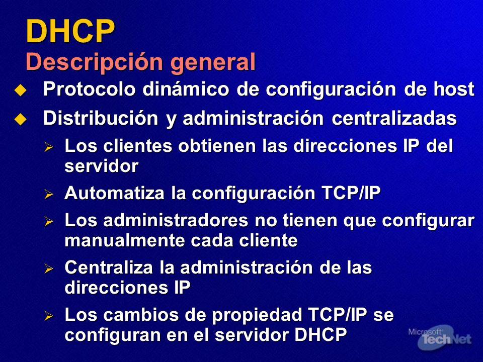 DHCP Descripción general Protocolo dinámico de configuración de host Protocolo dinámico de configuración de host Distribución y administración central