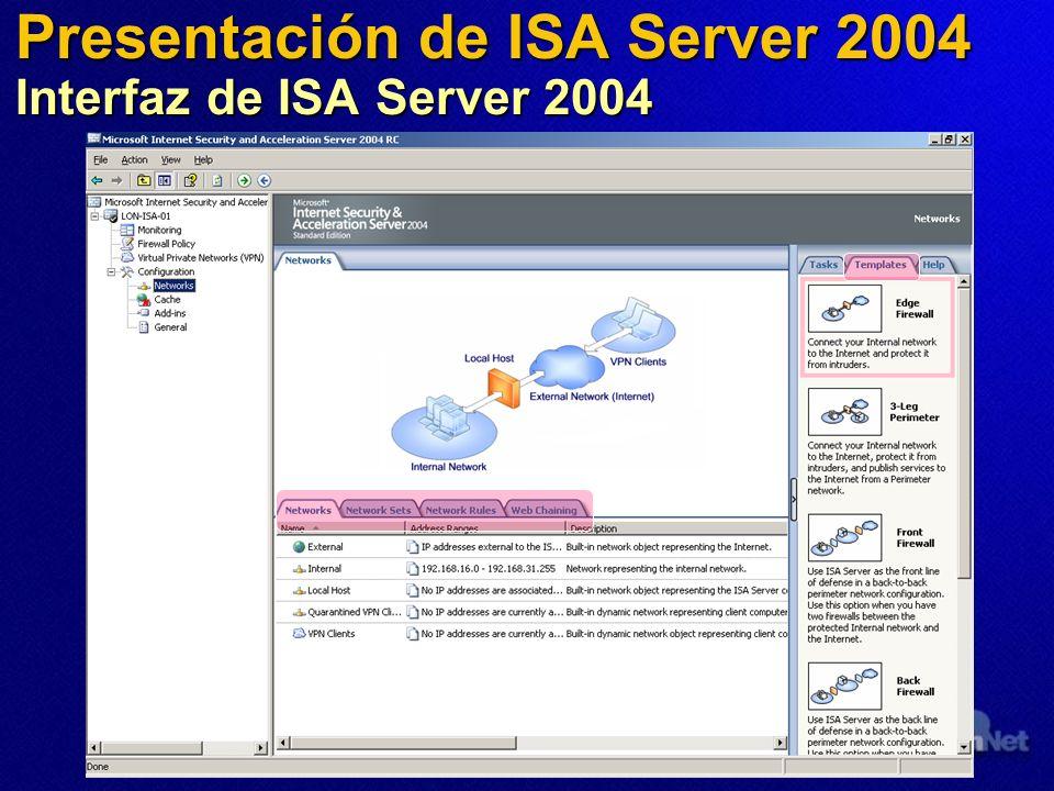 Presentación de ISA Server 2004 Interfaz de ISA Server 2004