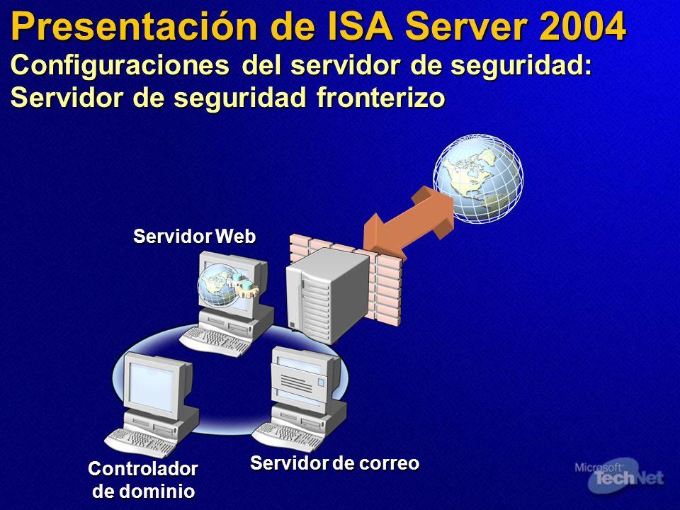 Presentación de ISA Server 2004 Configuraciones del servidor de seguridad: Servidor de seguridad fronterizo Servidor Web Servidor de correo Controlador de dominio