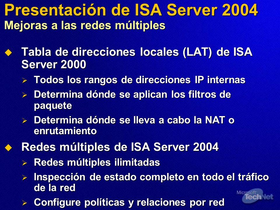 Presentación de ISA Server 2004 Mejoras a las redes múltiples Tabla de direcciones locales (LAT) de ISA Server 2000 Tabla de direcciones locales (LAT) de ISA Server 2000 Todos los rangos de direcciones IP internas Todos los rangos de direcciones IP internas Determina dónde se aplican los filtros de paquete Determina dónde se aplican los filtros de paquete Determina dónde se lleva a cabo la NAT o enrutamiento Determina dónde se lleva a cabo la NAT o enrutamiento Redes múltiples de ISA Server 2004 Redes múltiples de ISA Server 2004 Redes múltiples ilimitadas Redes múltiples ilimitadas Inspección de estado completo en todo el tráfico de la red Inspección de estado completo en todo el tráfico de la red Configure políticas y relaciones por red Configure políticas y relaciones por red