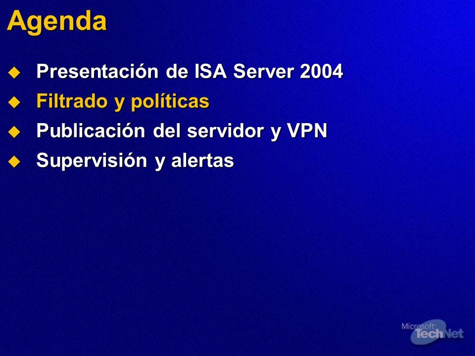 Agenda Presentación de ISA Server 2004 Presentación de ISA Server 2004 Filtrado y políticas Filtrado y políticas Publicación del servidor y VPN Publicación del servidor y VPN Supervisión y alertas Supervisión y alertas