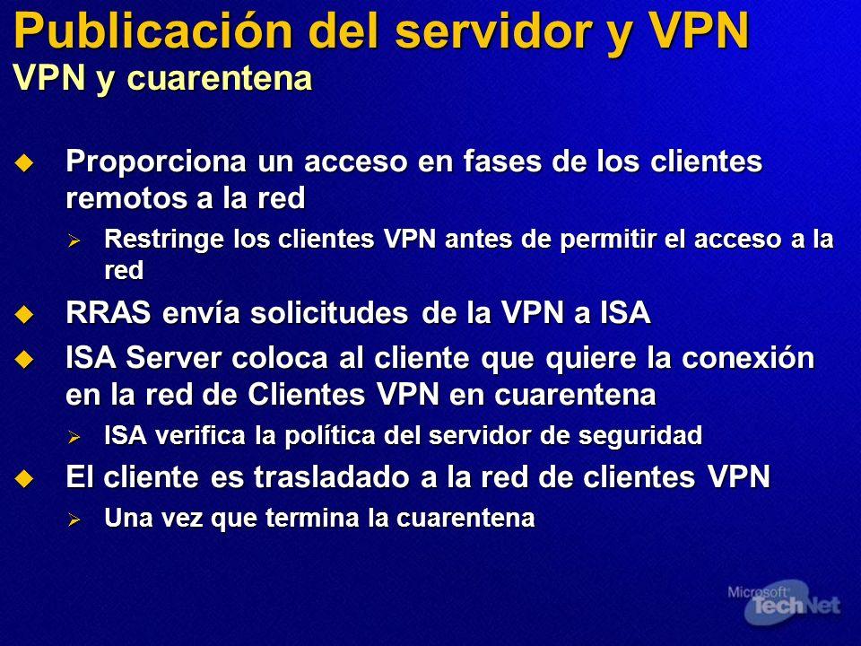 Publicación del servidor y VPN VPN y cuarentena Proporciona un acceso en fases de los clientes remotos a la red Proporciona un acceso en fases de los clientes remotos a la red Restringe los clientes VPN antes de permitir el acceso a la red Restringe los clientes VPN antes de permitir el acceso a la red RRAS envía solicitudes de la VPN a ISA RRAS envía solicitudes de la VPN a ISA ISA Server coloca al cliente que quiere la conexión en la red de Clientes VPN en cuarentena ISA Server coloca al cliente que quiere la conexión en la red de Clientes VPN en cuarentena ISA verifica la política del servidor de seguridad ISA verifica la política del servidor de seguridad El cliente es trasladado a la red de clientes VPN El cliente es trasladado a la red de clientes VPN Una vez que termina la cuarentena Una vez que termina la cuarentena