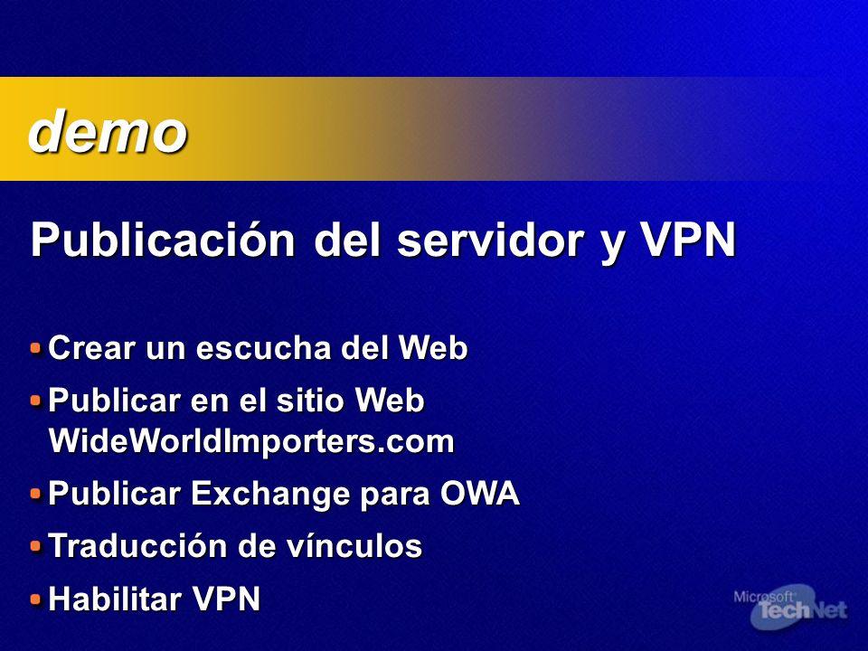 Publicación del servidor y VPN Crear un escucha del Web Publicar en el sitio Web WideWorldImporters.com Publicar Exchange para OWA Traducción de vínculos Habilitar VPN demo demo
