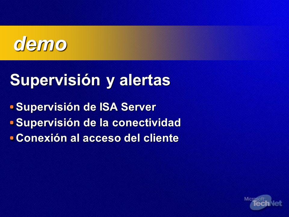 Supervisión y alertas Supervisión de ISA Server Supervisión de la conectividad Conexión al acceso del cliente demo demo